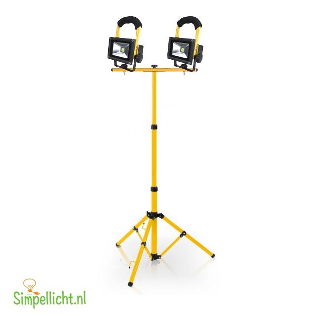 accu statief, 2x10 watt, accu werk bouwlamp