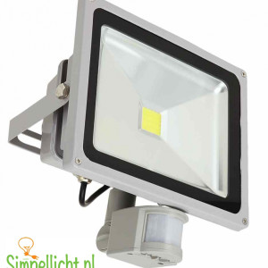 led, led bouwlamp, bouwlamp met sensor, 50 watt, IP44, grijs